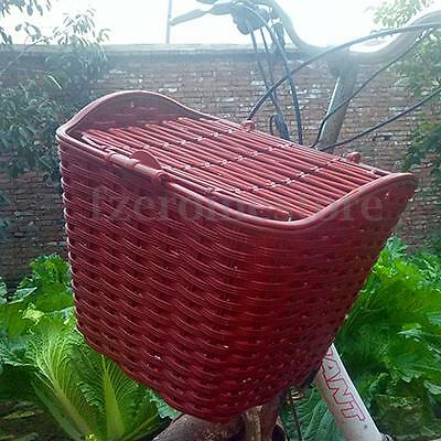 Bike Bicycle Cycle Plastic Weaving Front Shopping Basket Storage Holder With Lid