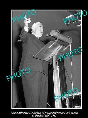 Old Large Historical Photo Of Australian Prime Minister Robert Menzies 1963, Qld