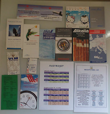 AIRLINE TIMETABLE FLUGPLAN SET 15x DIFFERENT OLD RARE WORLDWIDE