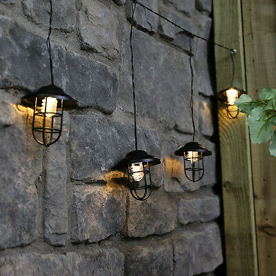 5 Led 1M Outdoor Garden Plug In Rubber Cable Vintage Lantern Fairy String Lights