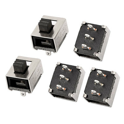 5 Pcs 2 Position 3P DPDT Micro Slide Switch Latching Straight Vertical Mounting
