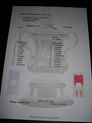1955-56 FA Cup 5th Round Manchester City v Liverpool matchsheet
