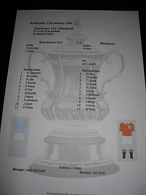 1955-56 FA Cup 3rd Round Manchester City v Blackpool matchsheet