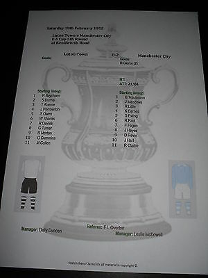 1954-55 FA Cup 5th Round Luton Town v Manchester City matchsheet