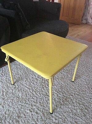 Yellow Side Coffee Table Camping Picnic Soft Top Gold Away Retro Metal Legs
