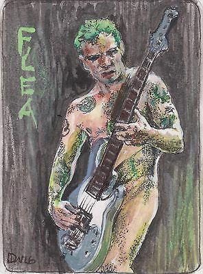 "FLEA ACEO ORIGINAL PAINTING RHCP FAN ART FUNK 2.5""X3.5"", NOT A PRINT-by D WARREN"