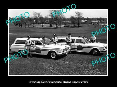OLD LARGE HISTORIC PHOTO OF WYOMING STATE POLICE PLYMOUTH PATROL CARS c1960 1