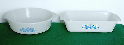 BLUE ON WHITE -CASSEROLE AND LOAF PAN by  ANCHOR HOCKING FIREKING USA