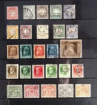 BAVARIA useful early used collection - 26 stamps