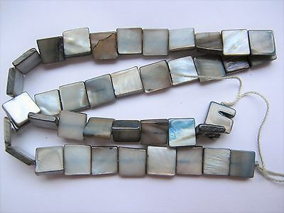 Mother of pearl shell MOP grey 10mm flat square beads 15""