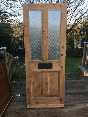 Victorian Front Door Wood Reclaimed Period Old Antique Stripped Pine C1890 Archi