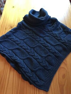 Seasalt Chunky Cable Knit Lambswool Poncho New- One Size Fits All