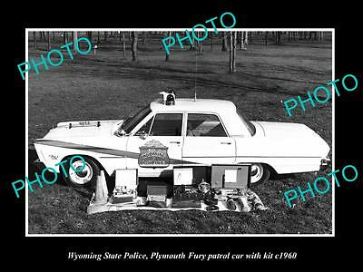 OLD LARGE HISTORIC PHOTO OF WYOMING STATE POLICE PLYMOUTH PATROL CARS c1960 2