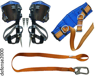 Tree Climbing Spike Set, Safety Belt, Safety Lanyard With Carabiner
