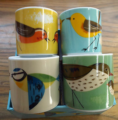 'Birdy' Range set of 4 Egg Cups / Mini Cups. Boxed.
