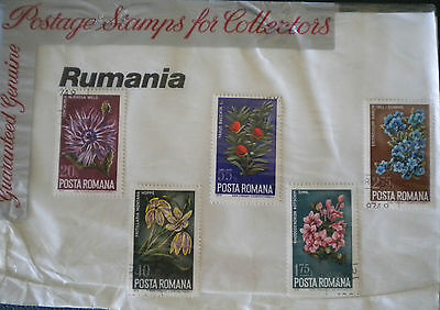 Rumania Roumania 1974 flowers stamps - in original 1970s stamp packet