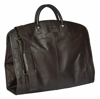 Real Luxury Soft Leather Suit Dress Garment Carrier Weekend Bag HOL933 Brown