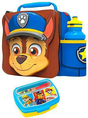 PAW Patrol 'Chase' 3D Lunch Bag/Box and 500ml Bottle Set with 2-Piece Snack Box