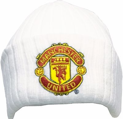 Manchester United Bronx Hat White Ribbed Official Football Gifts