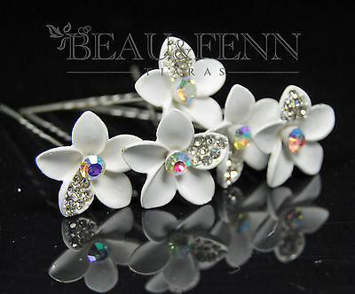 Set Of 5 White Flower And Crystal Hair Pins Clips Accessories