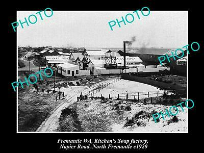 OLD LARGE HISTORIC PHOTO OF FREMANTLE WA, KITCHENS SOAP FACTORY, Nth FREO c1920