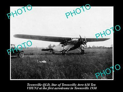 OLD LARGE HISTORIC PHOTO OF THE STAR OF TOWNSVILLE PLANE, c1930s, AVRO 618 QLD