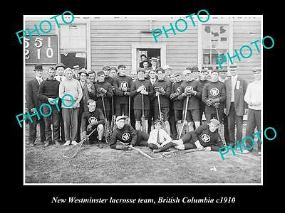 Old Large Historic Photo Of New Westminster Lacrosse Team, British Columbia 1910