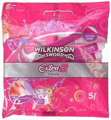 Wilkinson Sword Extra 2 Beauty Disposable Twin Blade Razors for Women - 5 Pack