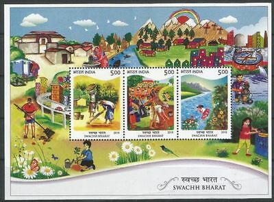 Clean India, Railway Track, River, Painting, Rainbow, India MNH SS - A32