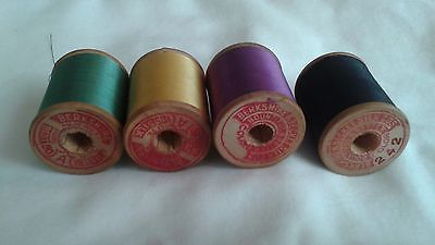 Lot of 4 antique wooden spools silk sewing thread