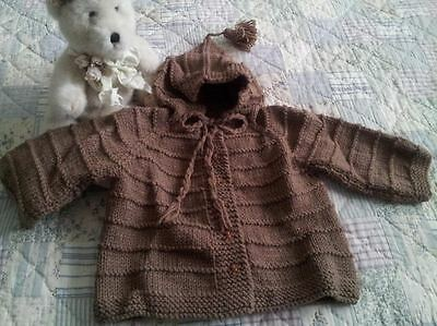 Handmade Knitted Toddler Sweater/ Hoodie size 12-18 months Mocha Brown