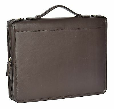 Real Leather Document Conference Folder Folio Case With Grab Handle Brown