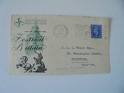 Festival of Britain Posted Souvenir Envelope - 1951,special franking