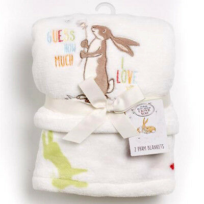 Guess How Much I Love You Pram Baby Blanket TWO PACK Stroller Pushchair Buggy