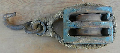 Antique 19th Century Sailors Ropework Ships Pulley in Old Dry Blue Paint
