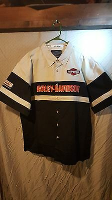 Harley Davidson Embroidered Colorblock Woven Mechanic Shirt 2XL NWOT Garage mens
