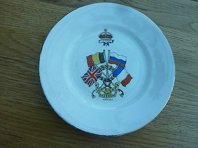 "Ww1 Patriotic Flags Royal Staffordshire China Plate 7 Inch ""for Right & Freedom"""
