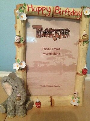Tuskers Elephant Happy Birthday Photo Frame & Coin Bank