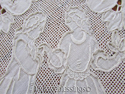 """Antique Italian Embroidered Figural Bridal Lace Linen Banquet TABLECLOTH 67x100"""""""