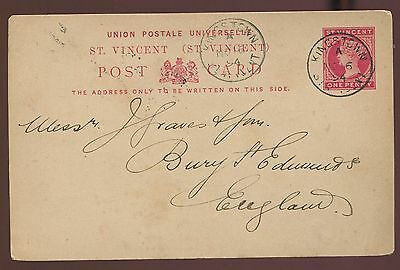 1894 St Vincent 1p Postal Card Mailed to English Stamp Dealer  ph8239