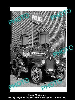 OLD LARGE HISTORIC PHOTO OF VENICE CALIFORNIA, POLICE SQUAD AT THE STATION c1930