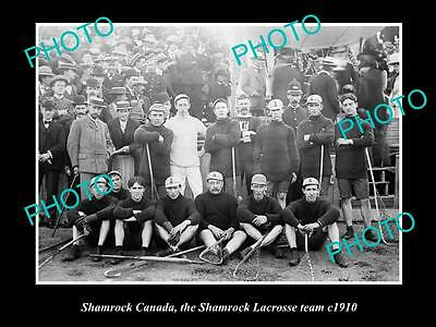 OLD LARGE HISTORIC PHOTO OF SHAMROCK CANADA, THE SHAMROCK LACROSSE TEAM c1910