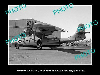 OLD LARGE HISTORIC AVIATION PHOTO OF CATALINA SEAPLANE, DENMARK AIR FORCE c1965