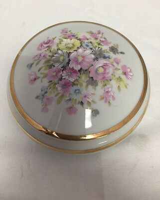 Vintage Round Limoges DC Powder Or Trinket Off White With Gold Tone Trim