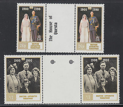 British Antarctic 170-171 VF MNH 1990 Queen Mother 90th Birthday Gutter Pairs