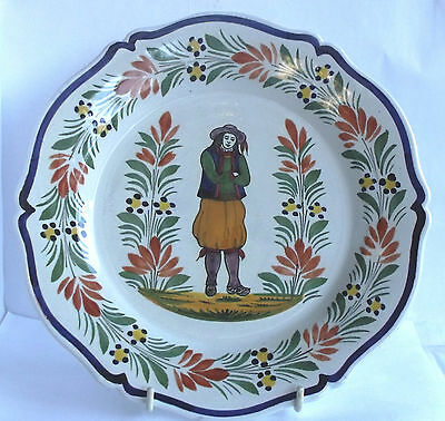 VINTAGE FRENCH POTTERY HENRIOT QUIMPER 10in PLATE IN FINE CONDITION