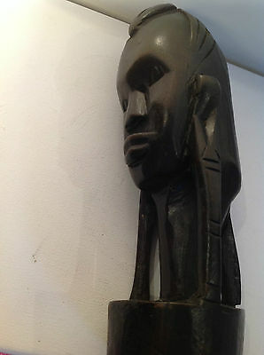 Vintage African Tribal Art  Hard Wood Hand Carved  Head or bust - Ebony?  2