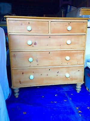 victorian antique pine 2 over 3 chest of drawers
