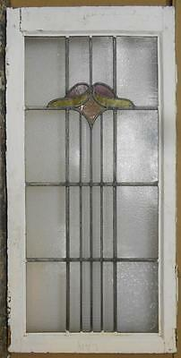 "LARGE OLD ENGLISH LEADED STAINED GLASS WINDOW Pretty Floral Top 19.25"" x 39.75"""