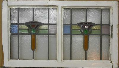 """OLD ENGLISH LEADED STAINED GLASS WINDOW TRANSOM Double Abstract 31.75"""" x 18.5"""""""